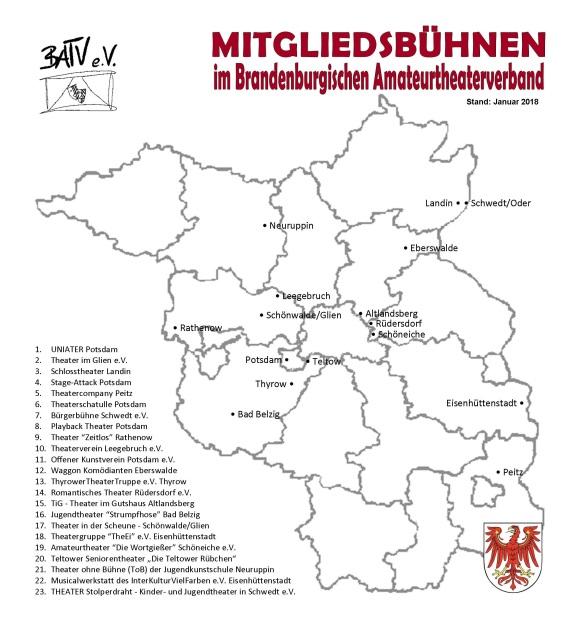 Karte von Brandenburg mit Mitgliedsbühnen Januar 2018