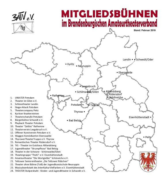 Karte von Brandenburg mit Mitgliedsbühnen Februar 2019